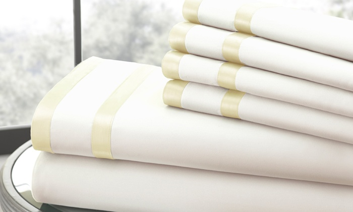 Italian Hotel Collection 1,000-TC Sheet Set with Double Satin Band (6-Piece) (K & Cal K)