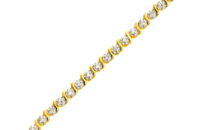 1.00 CTTW Diamond Bracelet in 18K Gold-Over-Sterling Silver: 1.00 CTTW Diamond Bracelet in 18K Gold-Over-Sterling Silver