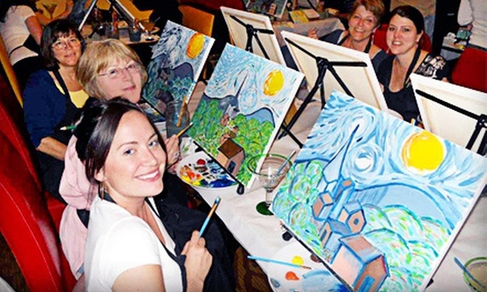 Wine and Canvas - Multiple Locations: Painting Class for One or Two from Wine and Canvas (Up to 54% Off)