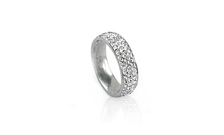 Stainless Steel and Swarovski Elements Ring