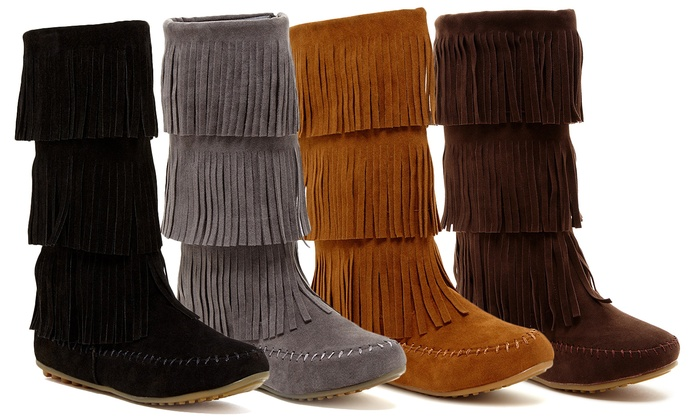 Women's Fringe Moccasin Boot | Groupon Goods