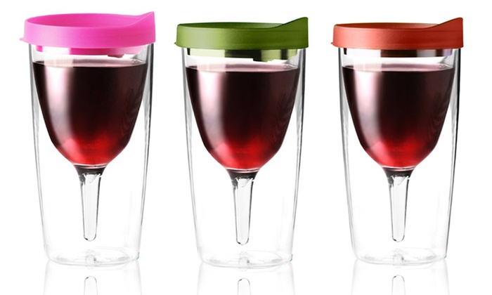 2-Pack of Vino-2-Go Glasses: 2-Pack of Vino-2-Go Glasses. Multiple Colors Available. Free Returns.