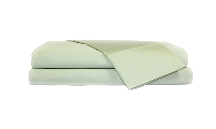 Perthshire Sateen 4-Piece Sheet Set: Perthshire 620-Thread-Count 100% Egyptian-Cotton Sateen 4-Piece Sheet Set in Celadon Queen or White King. Free Shipping.