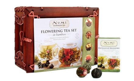 Numi's Flowering Tea Gift Set in Dark Mahogany Bamboo Case