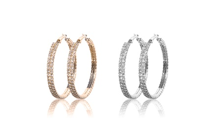 1 or 2 Pairs of Swarovski Elements Double-Row Hoop Earrings from $9.99–$17.99