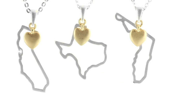 Cents of Style: One, Two, Three, or Five State-Shaped Necklaces from Cents of Style (Up to 70% Off)