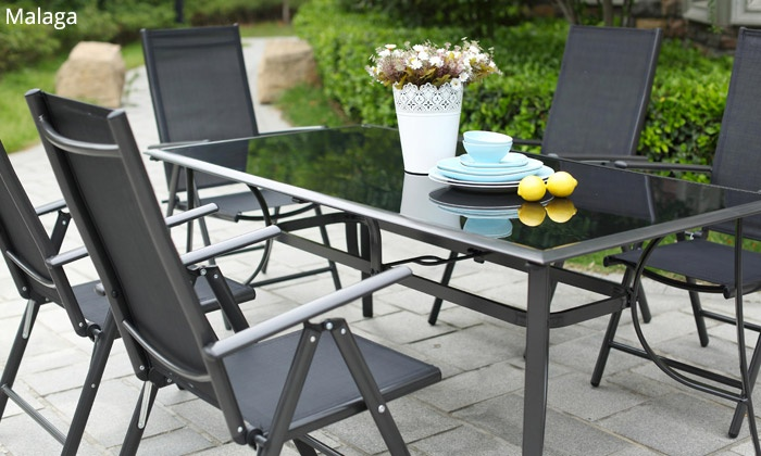 Salon de jardin verre/alu | Groupon Shopping
