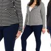 Women's Plus-Size Asymmetrical Knit Stripe Blazer