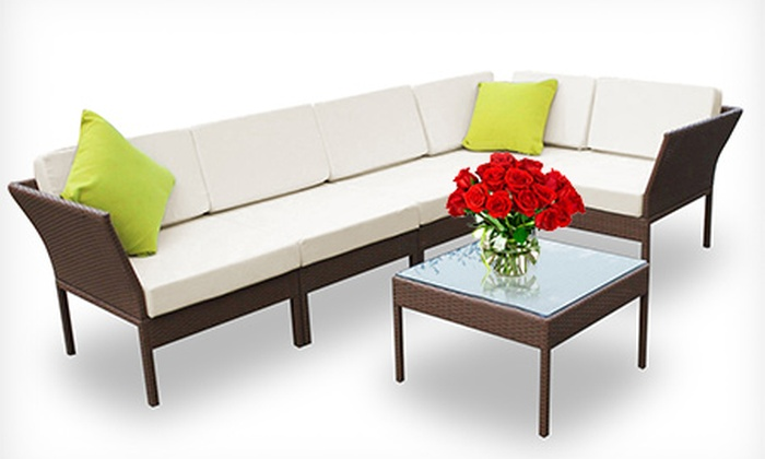 6 piece wicker outdoor furniture set groupon goods for Outdoor furniture groupon