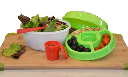 All-In-One Salad Bowl Set with Dressing Container