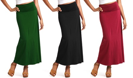 Women's Long Fold-Over Cotton Maxi Skirt