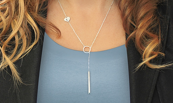 Monogram Online: Personalized Lariat Necklace in Sterling Silver or Yellow or Rose Gold from Monogram Online (Up to 66% Off)