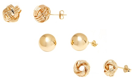 18K Gold-Plated Ball or Love-Knot Stud Earrings