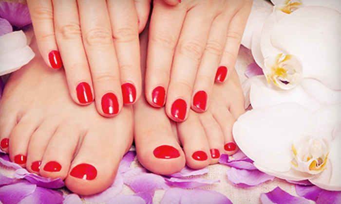 Sanam's Boutique & Salon - Mississauga: Deluxe Mani-Pedi with Optional Facial, or Shellac Manicure and Pedicure at Sanam's Boutique & Salon (Up to 63% Off)