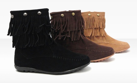 Bucco Alawa Fringe Moccasin Bootie. Multiple Colors Available.