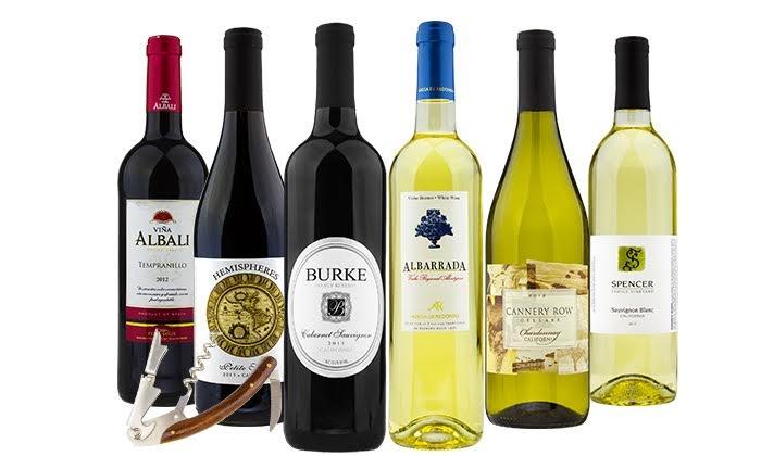 6 bottles of wine delivered
