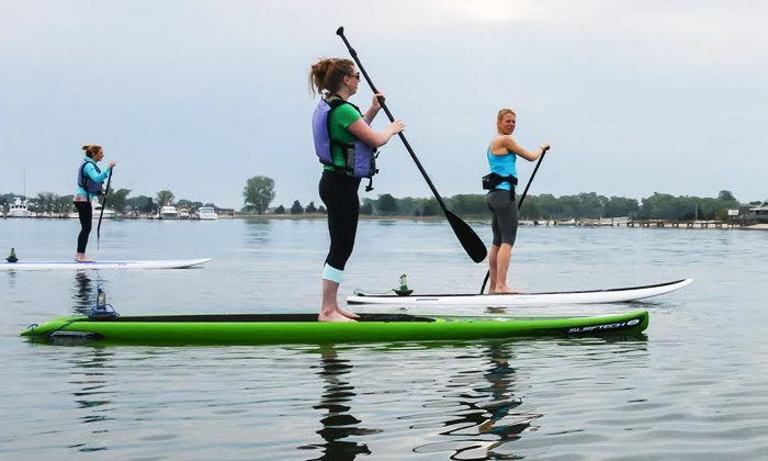 Paddleworks at Harborside Marina - Clinton: SUP Rental or SUP Yoga or Boot Camp at Paddleworks at Harborside Marina (Up to 50% Off). Four Options Available.