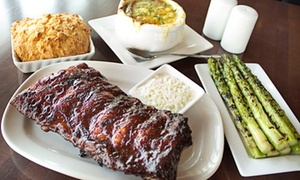 Carson's Ribs: $69 for Dinner with Dessert and Drinks for Two at Carson's Prime Steaks & Famous Barbecue