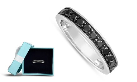 1/2 CTTW Black Diamond Wedding Band in Solid Sterling Silver