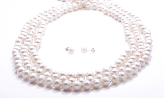 "100"" Genuine Freshwater Pearl Necklace with Bonus Pearl Earrings: 100"" Genuine Freshwater Pearl Necklace with Bonus Pearl Earrings. Free Returns."