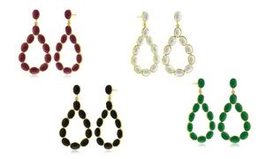 13.00 Cttw Open Teardrop Gemstone Earrings In 18k Yellow Gold Over Brass