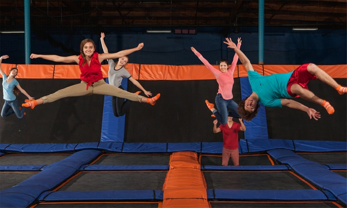 Sky Zone- Durham - Northgate Mall near Duke University: Two 60- or 30-Minute Jump Passes or Fall Fly Pass at Sky Zone Durham (Up to 57% Off). Four Options Available.