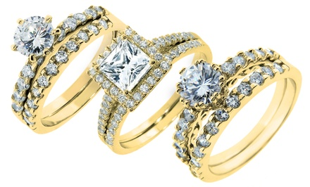 14-Karat Gold-Plated Two-Piece Cubic Zirconia Rings