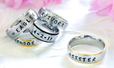 $15 for One Custom Hand-Stamped Ring from Stamp the Moment ($34.99 Value)