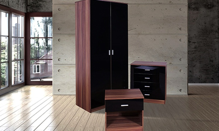 Black and walnut bedroom furniture
