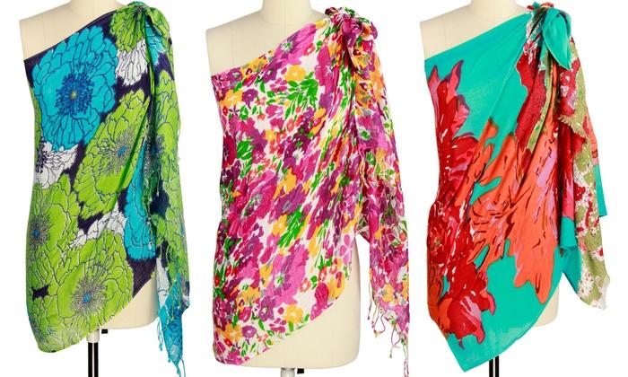 Women's Floral-Print Beach Wrap/Scarf