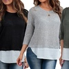 Women's Double-Layer Sweater with Chiffon Back Slit (3-Pack)