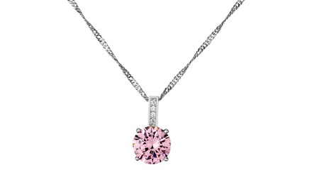 2.33 CTW Brilliant Cut Pink Sapphire Pendant in 10K White Gold