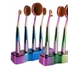 Kabuki-Style Oval Makeup Brushes with Stand (5-Piece)
