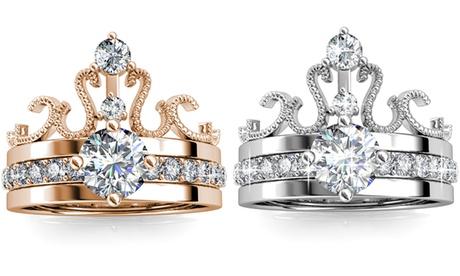 1 ou 2 bagues Couronne plaqué or, ornées de cristaux Swarovski®