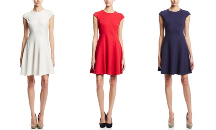 Premise Cap-Sleeve Crew-Neck Fit-and-Flare Dress | Brought to You by ideel