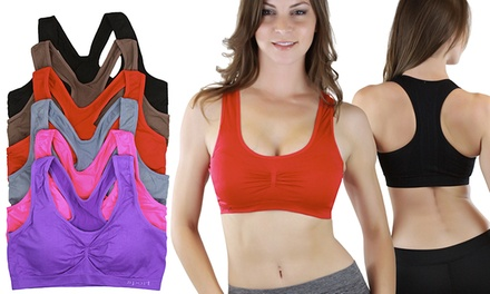 Padded Racerback Sports Bras in Standard and Plus Sizes (6-Pack)