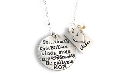 Sterling Silver Boy Who Stole My Heart Necklace from Hannah Design