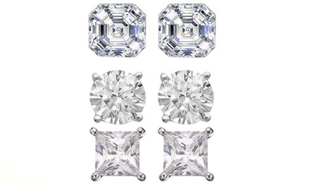 6.00 CTTW Cubic Zirconia 3-Pack of Stud Earrings in Sterling Silver
