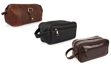 Woodland Leather Men's Wash Bag in Choice of Design from £14.99 (Up to 75% Off)