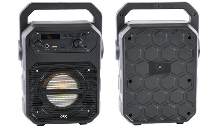 QFX PBX-3 Rugged Style Portable Bluetooth Party Speaker with Microphone and  Lights