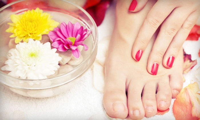 Nail Lux - Far North Dallas: Shellac Manicure or Spa Manicure and Deluxe Pedicure at Nail Lux (Up to 51% Off)