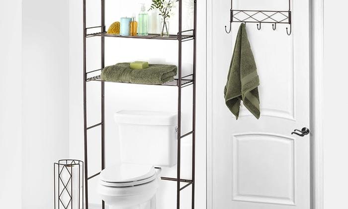 3-Piece Bathroom Space-Saver Set: 3-Piece Bathroom Space-Saver Set in Bronze or Chrome. Free Returns.