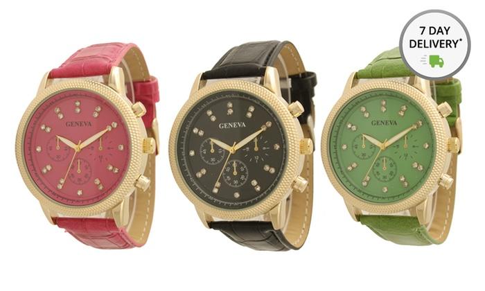Women's Faux-Leather Dual-Stone Watch: Women's Faux-Leather Dual-Stone Watch. Multiple Colors Available. Free Returns.