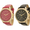 Women's Faux-Leather Dual-Stone Watch
