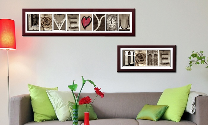 "Imagine Letters: Up to Eight Custom Letters and ""Love"" Prints with Optional Frame and ""Home"" Print from Imagine Letters (Up to 79% Off)"