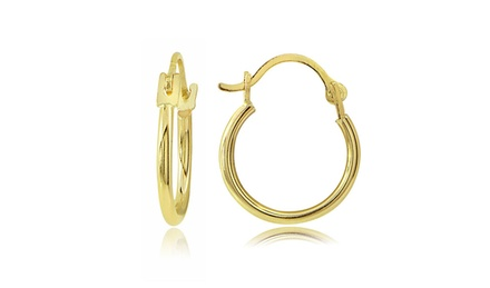 Hoop Earrings in 14K Solid Yellow Gold
