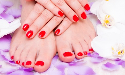 One, Two, or Three Mani-Pedis with Wine at Roberto Giordano Salon and Spa (Up to 52% Off)