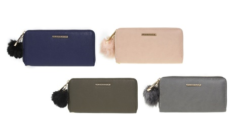 Rampage Women's Single Zip-Around Pompom Wallet