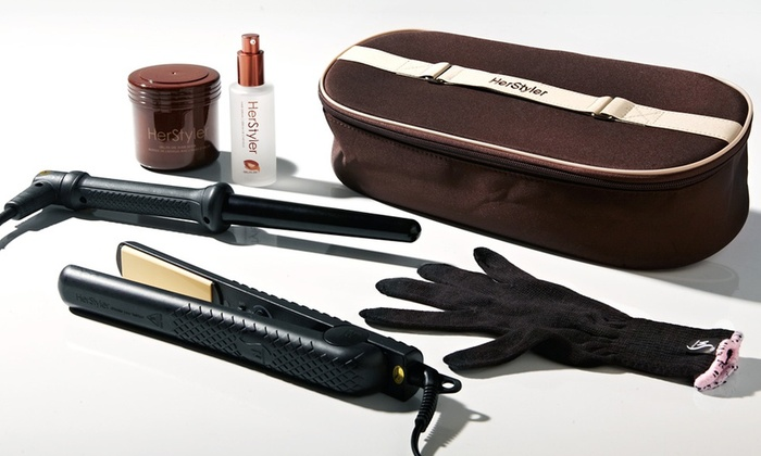 Herstyler Argan-Oil Hairstyling System: Herstyler Argan-Oil System with Flatiron, Curler, Hair Mask, and Serum. Free Shipping.