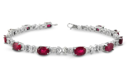 6.5 CTTW Ruby and Diamond Bracelet in Sterling Silver